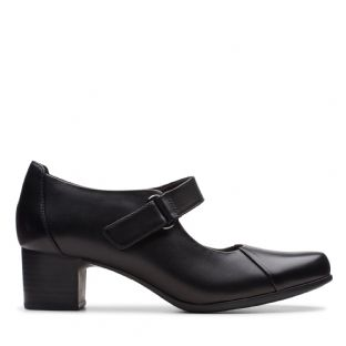 Clarks Un Damson Vibe Black Leather Womens Shoes